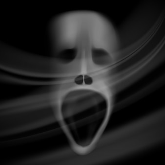 Twarz ducha, niewyraźna czaszka, tło horroru z cieniami