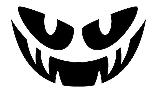 Twarz dyni halloween. upiorny zły straszny uśmiech.