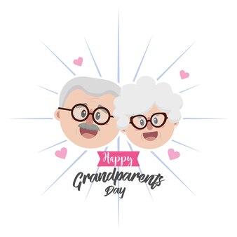Twarz dziadka w okularach i fryzurę