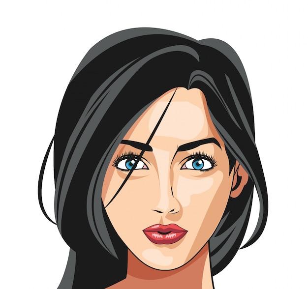 Twarz dziewczyny niebieskie oczy czarne włosy długo atrakcyjne
