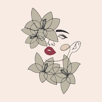 Twarz dziewczyny z kwiatami. ilustracja liniowa