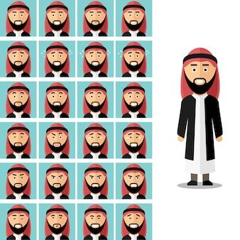 Twarz emocje arabskiego człowieka. arabski muzułmanin smutny lub zły, ilustracja uczucie awatara. wektor zestaw w stylu płaski