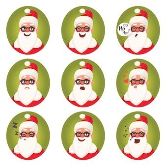 Twarz emoji świętego mikołaja. zbiór różnych emocji świąteczne postacie. ilustracja