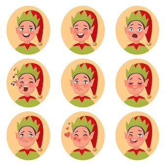 Twarz emoji świętego mikołaja. zestaw znaków różnych emocji. ilustracja