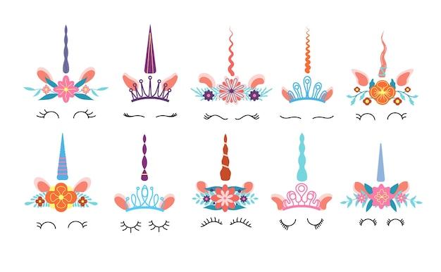 Twarz jednorożca. różne słodkie śmieszne jednorożce głowy z magicznym rogiem i wieńcem tęczowych kwiatów i rzęsami. kolorowe dzieci wektor zestaw. ilustracja magia jednorożca, magiczna głowa