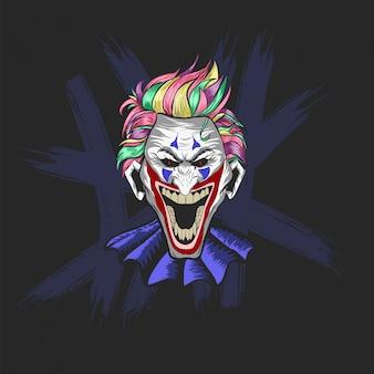 Twarz klauna jokera śmieje się na halloween