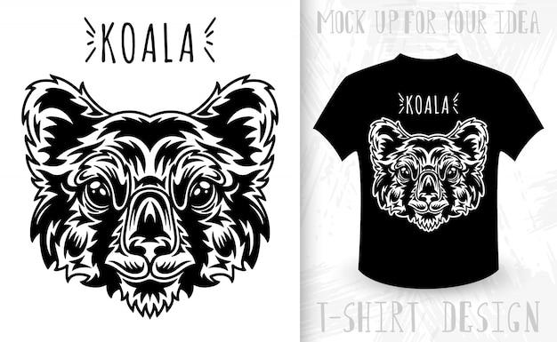 Twarz koali. pomysł na nadruk koszulki w stylu monochromatycznym vintage.