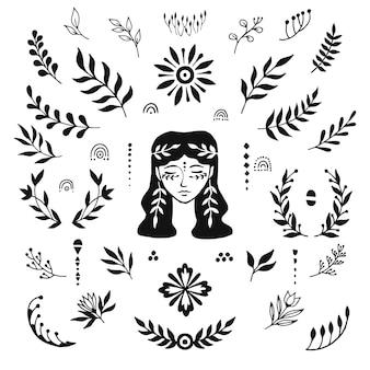 Twarz kobiety i liście. ręcznie rysowane. elementy wystroju.