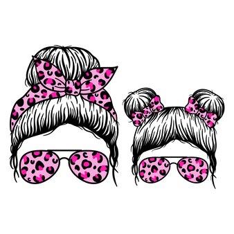 Twarz kobiety i twarz dziewczyny z chustką w okularach lotnika messy bun mom lifestyle messy bun girl