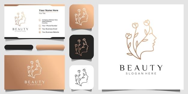 Twarz kobiety łączy się z kwiatem, zestawem logo i projektem wizytówki. streszczenie projektu