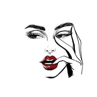 Twarz kobiety, patrząc w lewo z palcem w ustach