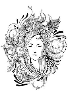 Twarz kobiety w ramce z kwiatami