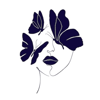 Twarz kobiety z czarnymi motylami w minimalistycznym stylu na białym tle.