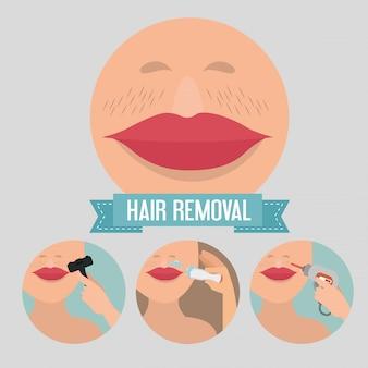 Twarz kobiety z elementami usuwania włosów