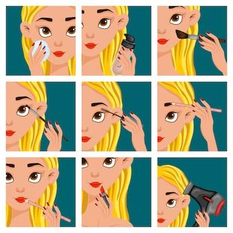 Twarz kobiety z etapami makijażu