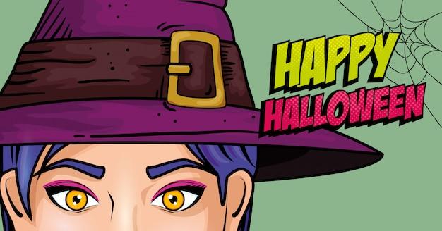 Twarz kobiety z kapeluszem w stylu pop-art czarownicy