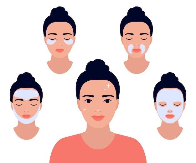Twarz kobiety z różnymi zabiegami na twarz. zrelaksuj się dzięki maseczkom na twarz. dziewczyna zadbaj o jej twarz. zabiegi kosmetyczne w spa, pielęgnacja skóry, pielęgnacja twarzy. piękna młoda kobieta z czystą, świeżą skórą.
