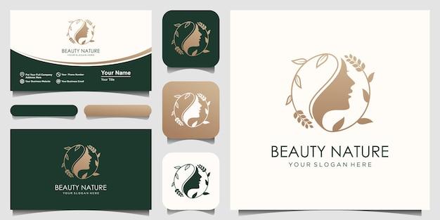 Twarz kobiety z stylizowaną sylwetką w stylu liścia, projektowanie logo salonu piękności.