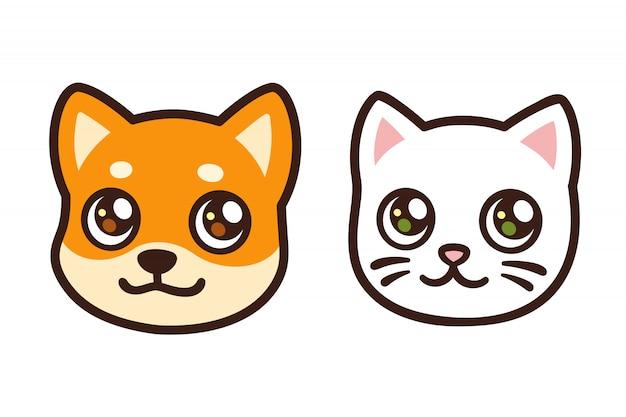 Twarz kota i psa z kreskówek