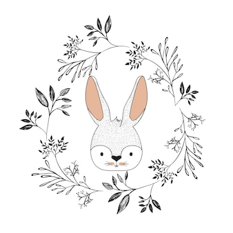 Twarz króliczka w ozdobnej ramie gałęzi