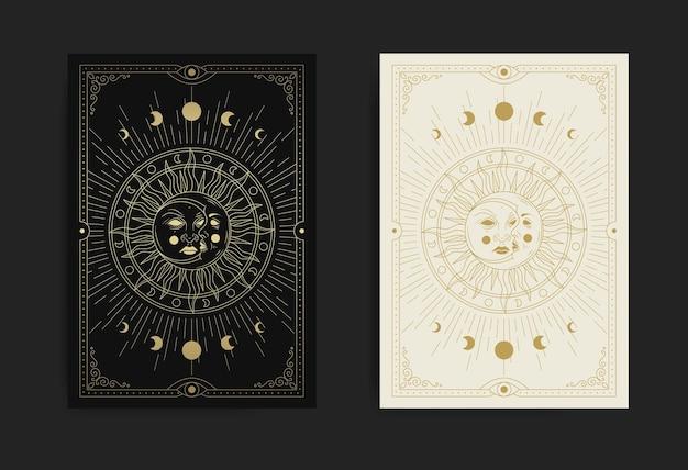 Twarz księżyca i słońca z luksusowymi, szczegółowymi wzorami i geometrycznymi kształtami