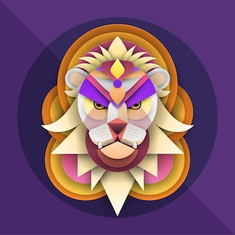 Twarz lwa w kolorowej grafice w stylu cięcia papieru