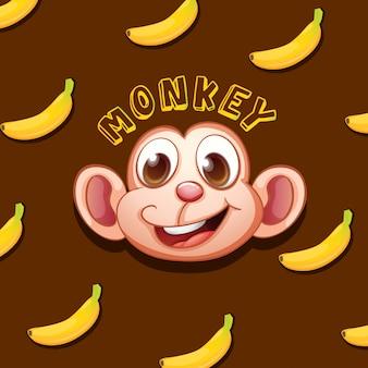 Twarz małpy i banany