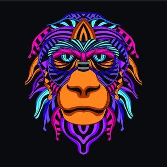 Twarz małpy z dekoracyjnego koloru neonowego