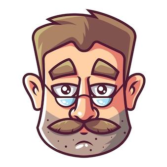 Twarz mężczyzny z brodą i okularami.