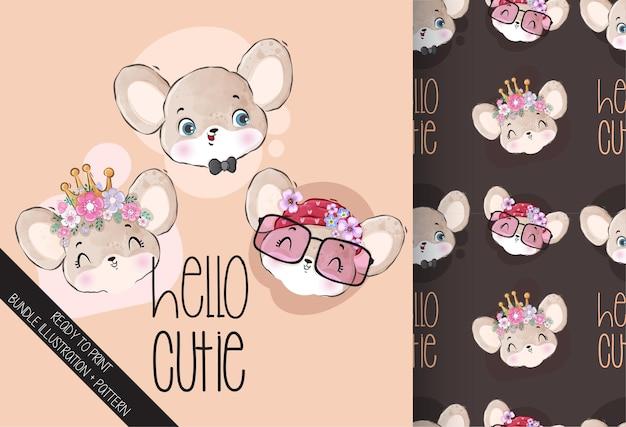 Twarz Myszy Cute Animal Baby Z Wzór Premium Wektorów