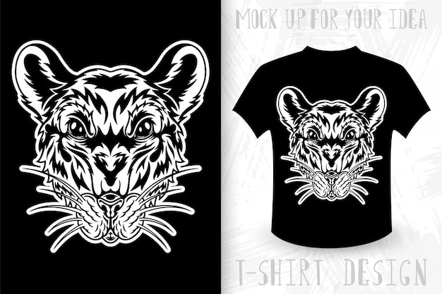 Twarz myszy pomysł na projekt koszulki w stylu monochromatycznym w stylu vintage.