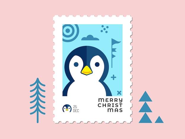 Twarz Pingwina W Niebieskim Stylu - Znaczek świąteczny Płaska Konstrukcja Dla Karty Z Pozdrowieniami I Uniwersalny Premium Wektorów
