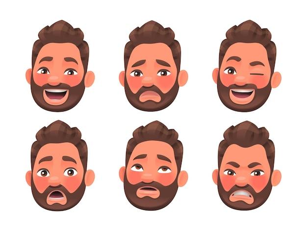 Twarz postaci brodatego mężczyzny o różnych emocjach. śmiech, gniew, zaskoczenie, smutek. emotikony. zestaw wyrażeń ludzkich emocji. ilustracja wektorowa w stylu kreskówki