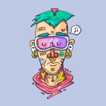 Twarz rapera z tatuażami. kreatywna ilustracja. sztuka kreskówkowa dla sieci i druku.