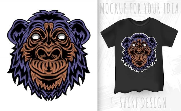 Twarz szympansa w stylu vintage. nagłówek styl vintage na białym tle
