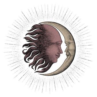 Twarz w słońcu i księżycu rysunek styl vintage grawerowanie linii pieniędzy pieniądze na tatuaż