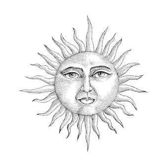 Twarz w słońcu rysunek styl grawerowania