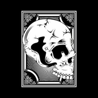 Twarz w stylu vintage czaszki na białym tle