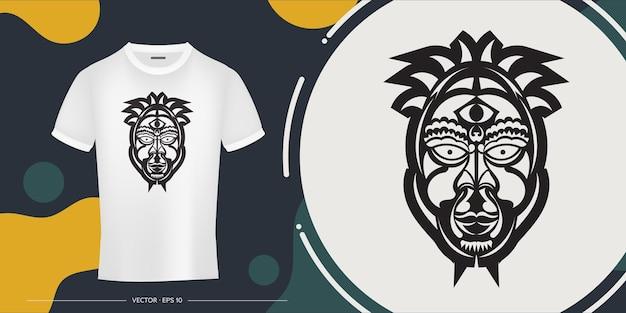 Twarz wodza w postaci maorysów. zarys szablonu koszulki