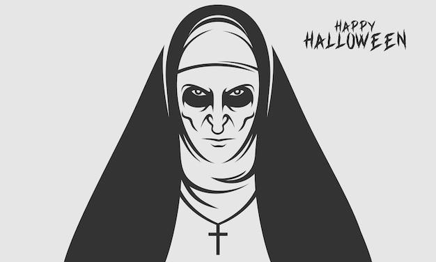 Twarz zakonnicy na szczęśliwe halloween