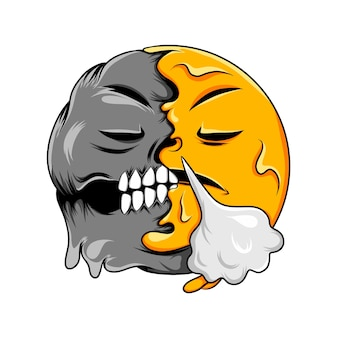 Twarz ze strumieniem z nosa zmienia się w śmierć twarz z emotikonami zębów