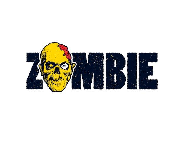 Twarz zombie na napisie zombie