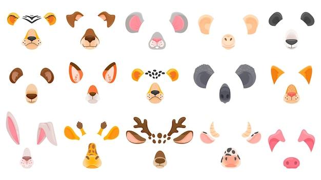 Twarz zwierzęcia do czatu wideo. filtruj maski zwierząt. lis, panda i koala, jeleń i niedźwiedź, gepard i tygrys, pies i kot. kreskówka wektor zestaw zwierzęca maska, nos i uszy ilustracja