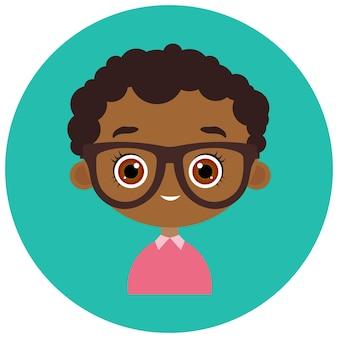Twarze avatar w kręgu. portret młodego african american chłopca w okularach. płaski styl kreskówek.