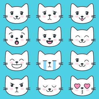 Twarze białego kota z różnymi emocjami