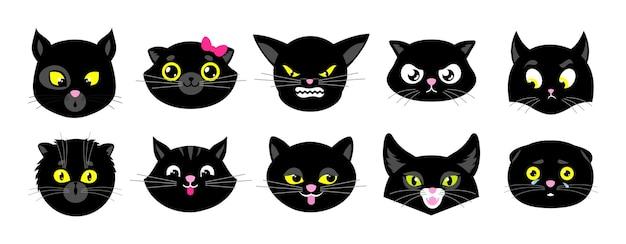 Twarze czarnych kotów. na białym tle płaskie kocięta, halloweenowe awatary kotów. emocjonalne naklejki zwierząt. słodkie emotikony. śmieszne zwierzaki!
