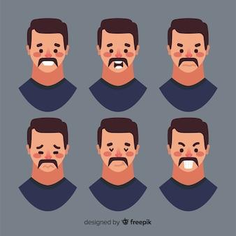 Twarze człowieka z różnymi emocjami