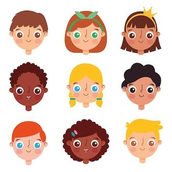 Twarze dzieci kreskówka zestaw na białym tle nad białym tle. ilustracja wektorowa