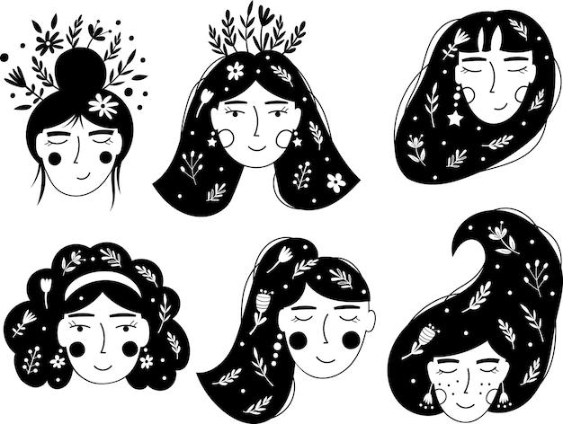 Twarze kobiet i kwiaty. ilustracje wektorowe.