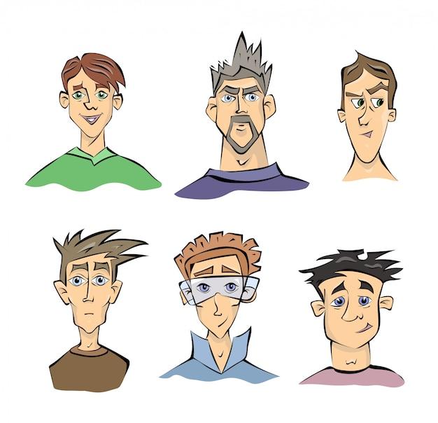 Twarze młodych mężczyzn z różnymi emocjami. ilustracja portretowa na białym tle.